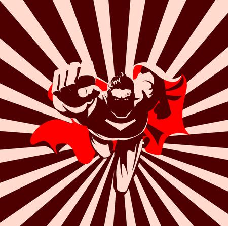 カメラでスーパーヒーローを飛ばす。白黒グラフィック。図  イラスト・ベクター素材