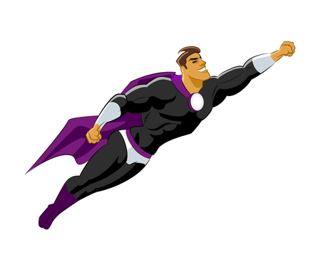 Superhero flying. Black violet clothes. Vector illustration Ilustrace