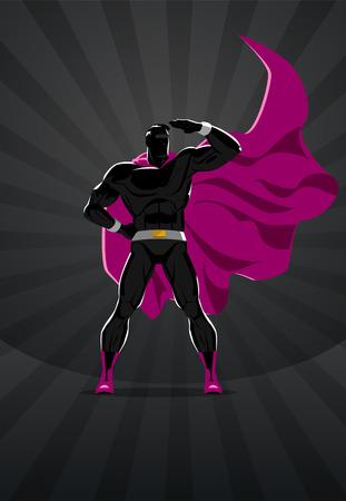 Superhero stands on the sunrise background. Vector illustration