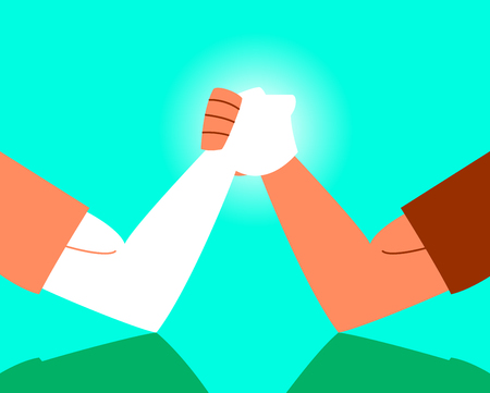 Arm wrestling confrontation. Strong arms. Vector illustration