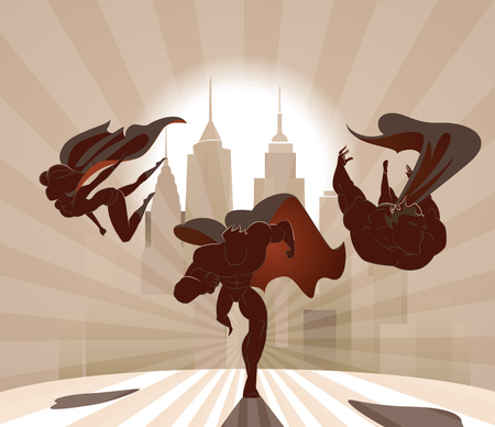 Superhero Team; Team of superheroes, flying and running in front of a urban background. Stock Vector - 93715440