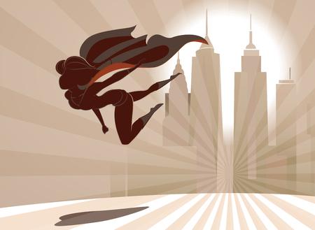 スーパーヒーローの女性は、都市の背景に地球上の低飛ぶ