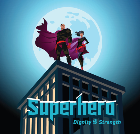 Superhero Couple. Male and female superheroes. Cloudy sky. Vector illustration Stock Vector - 94218258