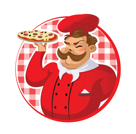 Cook in the kitchen preparing a pizza. Vector illustration Stock Illustratie