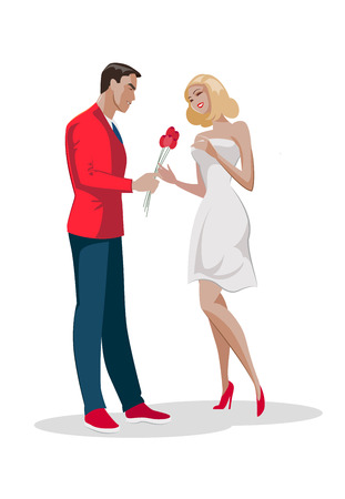 Man character give bouquet flowers to woman. First love date. Vector flat cartoon illustration