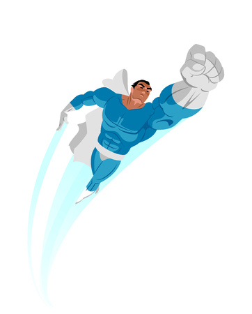 Poster. Superhero flying up. Isolated. Vector illustration