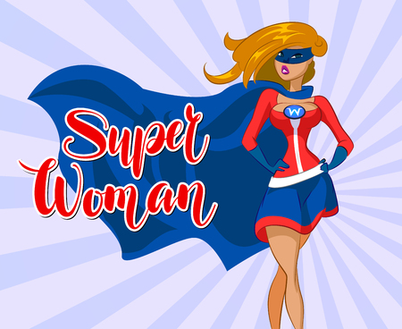 Superwoman in cartoon colored style with confident. Vector illustration Illustration