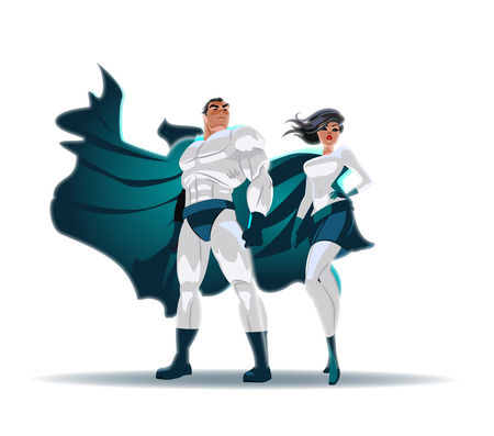Superhero Couple: Male and female superheroes, posing in front of a light. City background. Stock Vector - 94889859