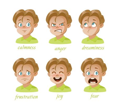 Boy Kid avatar Conjunto de expresiones de personajes. Avatar. Niño, sorpresa, frustración, ira, tristeza, tranquilidad, alegría, miedo, soñador. Ilustración vectorial Foto de archivo - 95588294