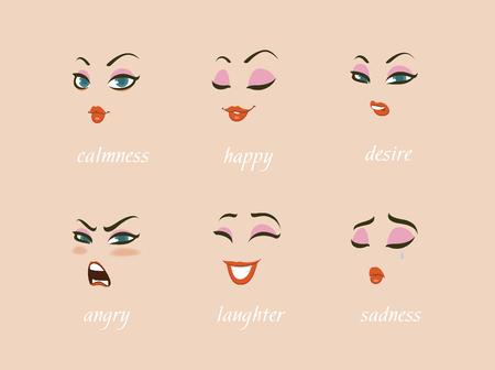 Conjunto de expresiones de caracteres de mujer. Avatar. calma, feliz, sospecha, miedo, enojo, risa, tristeza, deseo. Ilustración vectorial Foto de archivo - 95588293