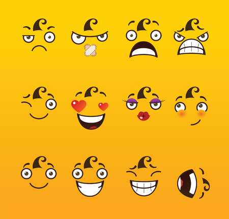 Funny cartoon comic faces on yellow background.