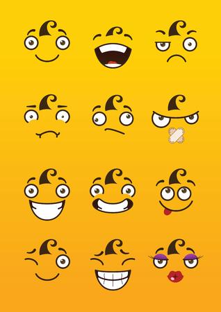Divertidos dibujos animados caras cómicas sobre fondo amarillo. Foto de archivo - 95605604