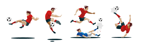Jugador de fútbol pateando la pelota y conjunto de diferentes poses. Foto de archivo - 95607065