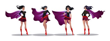 Comic acciones de supermujer en diferentes poses. Personajes de dibujos animados de vector de superhéroe femenina. Ilustración de dibujos animados de mujer superhéroe, personaje femenino heroico Foto de archivo - 95673717
