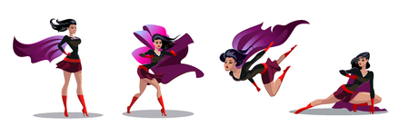 Comic superwoman actions in different poses. Female superhero vector cartoon characters. Illustration of superhero woman cartoon, character female heroic