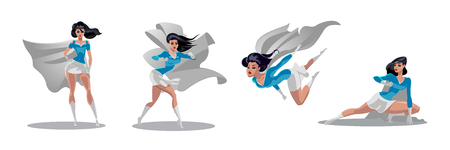 Comic acciones de supermujer en diferentes poses. Personajes de dibujos animados de vector de superhéroe femenina. Ilustración de dibujos animados de mujer superhéroe, personaje femenino heroico Foto de archivo - 95773069
