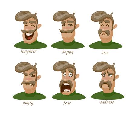 Hombre con carácter bigote con diferentes expresiones de dibujo . Foto de archivo - 96063295