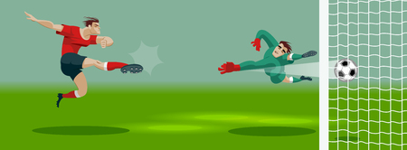 Soccer Player Kicking Ball in stadium and scores a goal. Light, stands, fans. Vector Illustration.