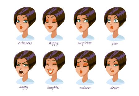 Conjunto de expresiones de carácter de mujer morena. calma, feliz, sospecha, miedo, enojo, risa, tristeza, deseo. Ilustración vectorial Foto de archivo - 96107930