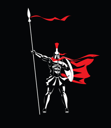 Spartan warrior in a helmet, with a spear and a shield. Vectores