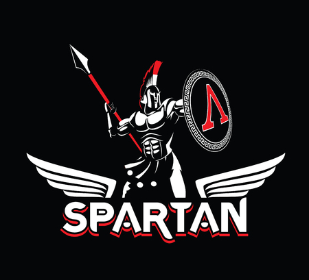 Spartan emblem in helmet and shield in black and white illustration.