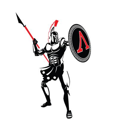 Guerrero espartano en un casco, con una lanza y un escudo. Ilustración vectorial Foto de archivo - 96366373