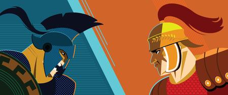 Antiguos guerreros en la ilustración de dibujos animados. Foto de archivo - 96630387
