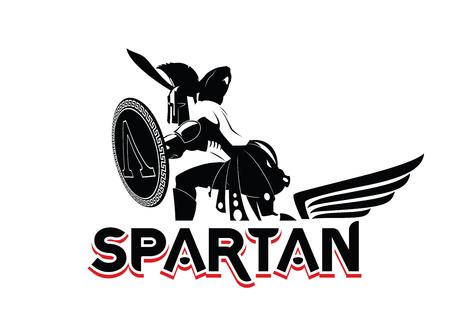 Emblema espartano en casco y escudo. Logotipo en blanco y negro. Ilustración vectorial Foto de archivo - 96566450