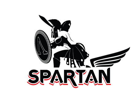 Spartan emblem in helmet and shield. Black-and-White logo. Vector illustration  イラスト・ベクター素材