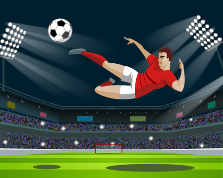 Soccer Player Kicking Ball in stadium. Light, stands, fans. Vector Illustration Çizim