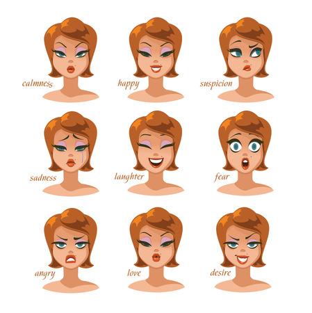 Conjunto de emociones de expresiones de carácter de mujer. calma, feliz, sospecha, miedo, enojo, risa, tristeza, deseo. Ilustración vectorial Foto de archivo - 97134300