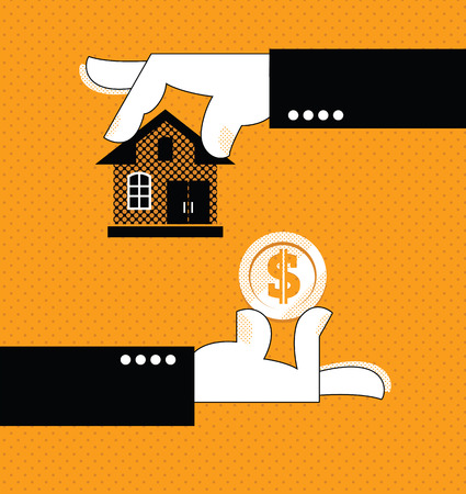 Buying a home. Hand holding house. Vector illustration Foto de archivo - 103588077