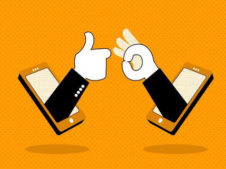 Las manos del teléfono muestran OK! Ilustración vectorial Foto de archivo - 97511139