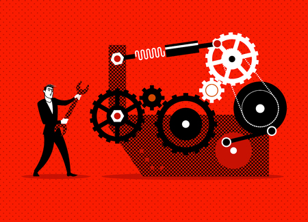 Businessman repaired mechanism. Vector illustration