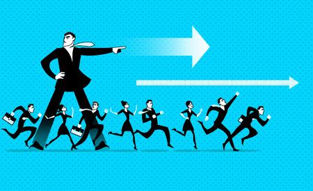 El líder muestra la dirección. Todos corren hacia adelante. Ilustración vectorial Foto de archivo - 97588759