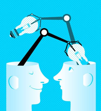 Bulbos en cabezas, intercambio de ideas concepto ilustración. Foto de archivo - 98589366