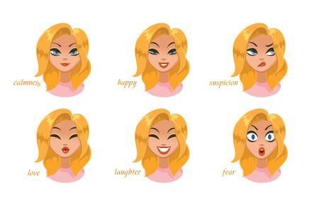 Beautiful women character expressions set. calmness, happy, suspicion, fear, angry, laughter, sadness, desire. Vector illustration Foto de archivo - 100127805