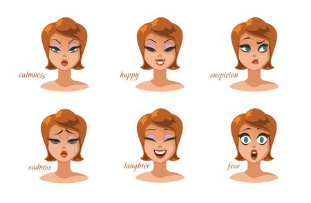 Beautiful women character expressions set. Foto de archivo - 100214228