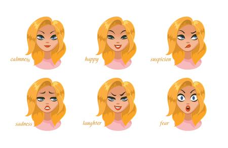 Beautiful women character expressions set. calmness, happy, suspicion, fear, angry, laughter, sadness, desire. Vector illustration Foto de archivo - 100128926