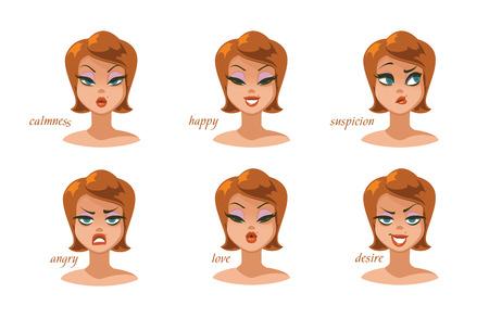 Beautiful women character expressions set. Vector illustration. Foto de archivo - 100246202