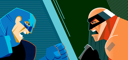 Good heroes versus evil heroes. Superheroes group. Vector illustration Foto de archivo - 100321504