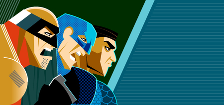Superheroes together confront the threat. We are ready to repel an attack. Vector illustration