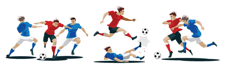 Players are fighting for the ball. Set of Soccer players. Vector Illustration Foto de archivo - 100342189