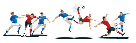 Players are fighting for the ball. Set of Soccer players. Vector Illustration Foto de archivo - 100342190