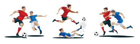 Players are fighting for the ball. Set of Soccer players. Vector Illustration Foto de archivo - 100488140