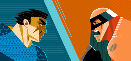 Good heroes versus evil heroes. Superheroes group. Vector illustration