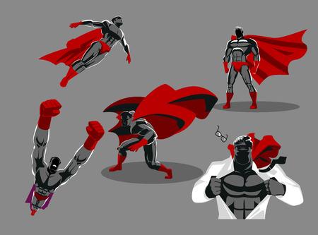 Cómico clasificación de superhéroes en diferentes personajes de héroe de oro superhéroe vector de juego. ilustración vectorial . colección - personaje de caracteres de dibujos animados humorística Foto de archivo - 101155041