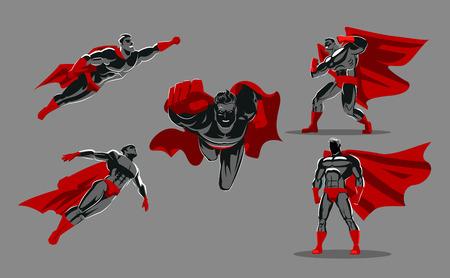 cómico clasificación de superhéroes en diferentes personajes de héroe de oro superhéroe vector de juego. ilustración vectorial . colección - personaje de caracteres de dibujos animados humorística
