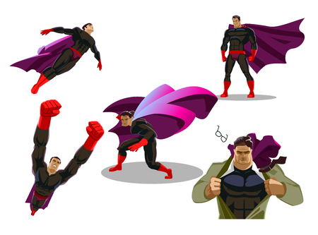 Comic superhero actions in different poses. Male super hero vector cartoon characters. Vector illustration. Set or collection of heroic cartoon character.