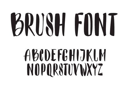 Vector handwritten brush script. Black letters isolated on white background. Vector fonts Foto de archivo - 135870234